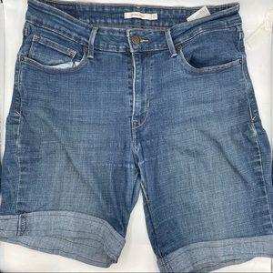 Levi's Blue Mid Rise Skinny Denim Washed Shorts